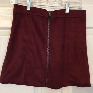 NWOT Faux suede deep red mini skirt